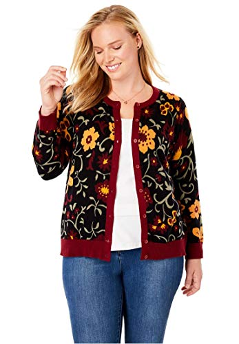 Woman Within Plus Size Perfect Long Sleeve Cardigan - Black Festive Floral, L - Floral Ribbed Cardigan