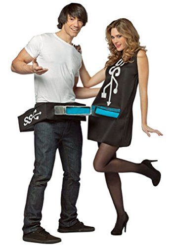 [Ponce USB Port and Stick Couples Nerd Costume Plug Socket Mens 2 Outfit] (Hercules Costume Couple)