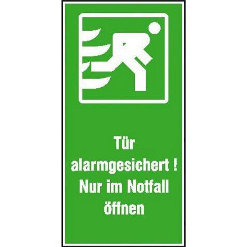 INDIGOS UG - Tür alarmgesichert!Nur im Notfall öffnen Rettungs-Kombischild, Folie7,40x14,80 cm