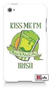St. Patrick's Day Kiss Me I'm Irish Happy St. Patty's Day Apple ipod 4 Quality Hard Case Snap On Skin for ipod 4/4G (WHITE)