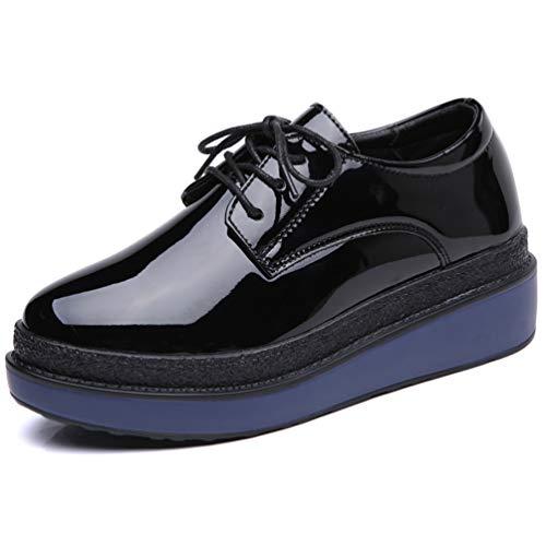 Todo para Plana Brogue Up Oxfords Casual Flat Round Cruzados Ladies Calzado Mujer Negro Charol Toe De Plataforma Zapatos Creepers Lace E1qwUtn