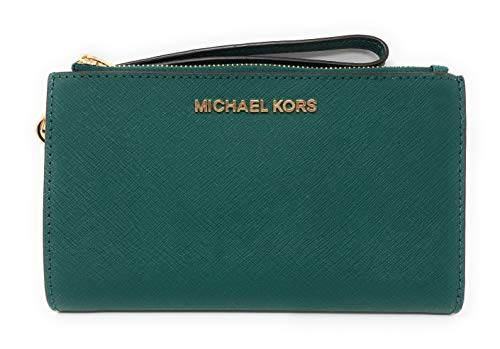 10cc398bb192 Michael Kors Jet Set Travel Double Zip Saffiano Leather Wristlet Wallet in  Emerald by Michael Kors