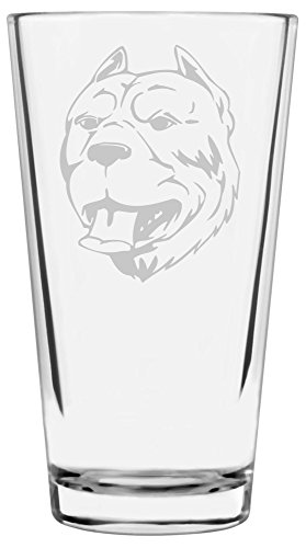 Pit Bull Beer (American Pit Bull Terrier (APBT) Dog Themed Etched All Purpose 16oz Libbey Pint Glass)