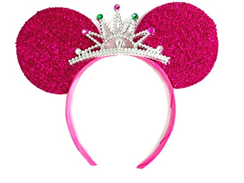 MeeTHan Mickey Mouse Ears Headband Minnie Mouse ears Tiara headbands : M6 (Pink2)