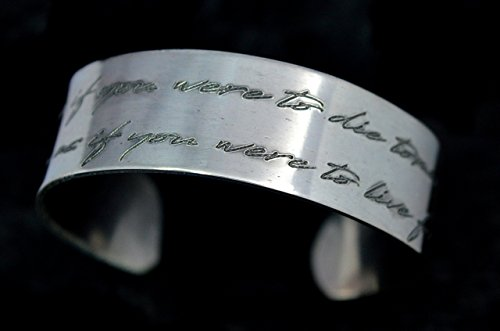 CUSTOM HANDWRITING bracelet,sterling silver bracelet, handwritten message,mothers day, memorial, custom engraved silver bracelet, handmade, by siledu