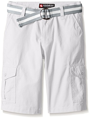 Southpole Big Boys Belted Rip Stop Basic Cargo Short with Washing All Season, White, 16