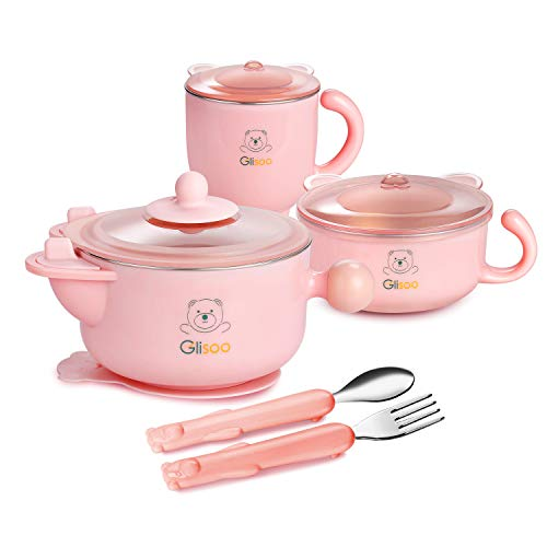 BPA Free Baby Feeding Set, Feeding Bowl with Lid, Salad Bowl, Milk Cup,Spoon and Fork for 6m+ Toddlers,316 Stainless Steel,Gift Set Tableware Set by Glisoo(Pink)