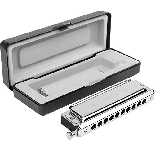 Chromatic Harmonica Professional Grade 10 Hole 40 Tone Key of C Stainless Steel Heavy Duty with Case & Cleaning Cloth for Professional Player,Band,Beginner,Students,Children,Kids