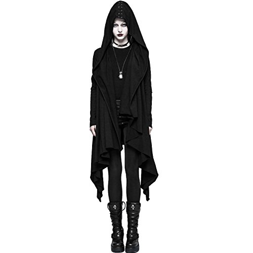 Punk-Rave-Women-Black-Gothic-Cardigan-Casual-Jacket-Knitted-Hooded-Lace-Up-Coat