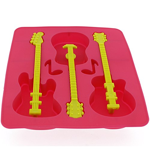 Elbee BPA-Free Silicone Guitar Ice Tray - Stir & Chill Your Drink with a Guitar! (Cool Jazz Ice Tray)