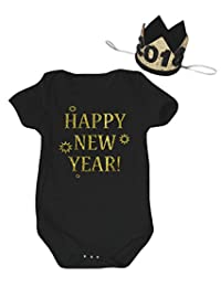 Petitebella Happy New Year Black Cotton Bodysuit Romper Nb-18m