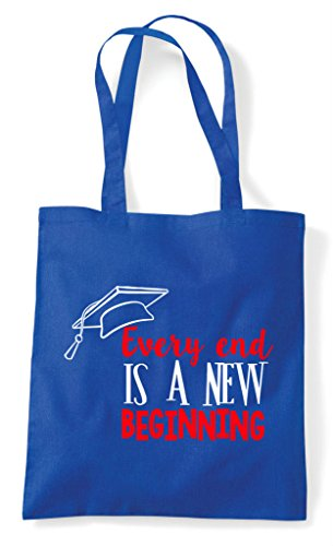 A Every New Shopper Blue Graduation Beginning End Royal Bag Tote Is EPqZ7