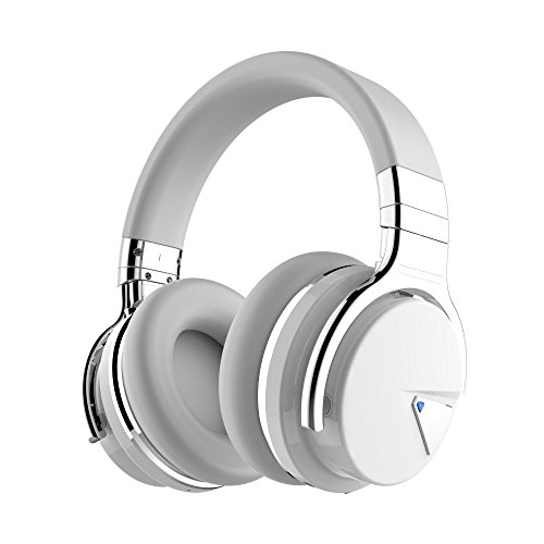 COWIN E7 Wireless Bluetooth Headphones with Mic Hi-Fi Deep Bass Wireless Headphones Over Ear, Comfortable Protein Earpads, 30 Hours Playtime for Travel Work TV Computer Phone – White