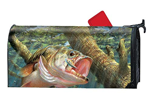 MALBX Bass Fish Magnetic Mailbox Cover Easter Decorations - 9 x 21 Inches