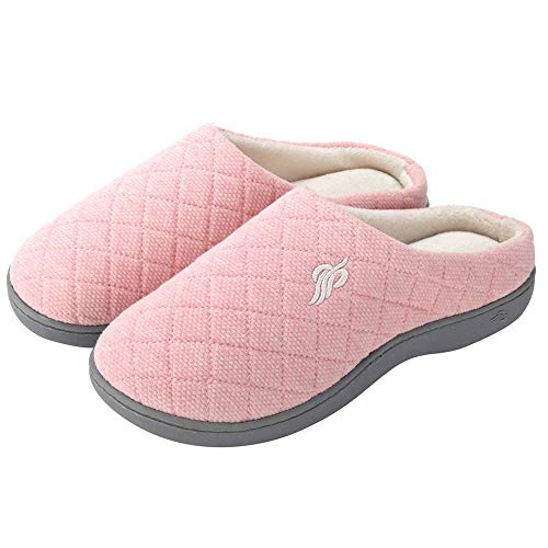 Wishcotton Women's Warm Cotton Slippers with Arch Support Winter Breathable Indoor/Outdoor House Shoes (XL, Pink)