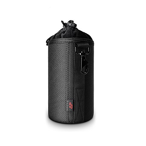 Splashproof Thick Neoprene Protective DSLR Camera Lens Pouch Bag Case with Metallic Swivel Hook for Canon/Sony/Nikon (Medium)