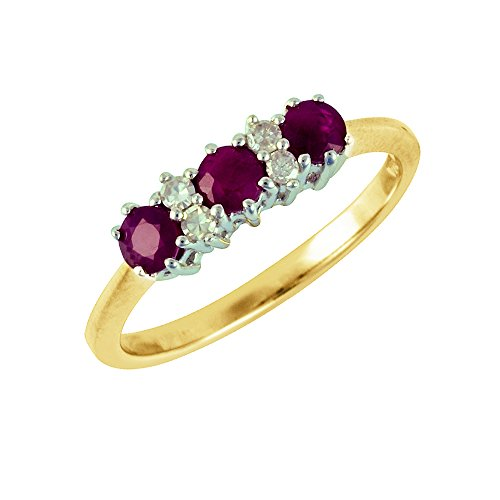 Ivy Gems 9ct Yellow Gold Ruby and Diamond Trilogy Ring - Size M