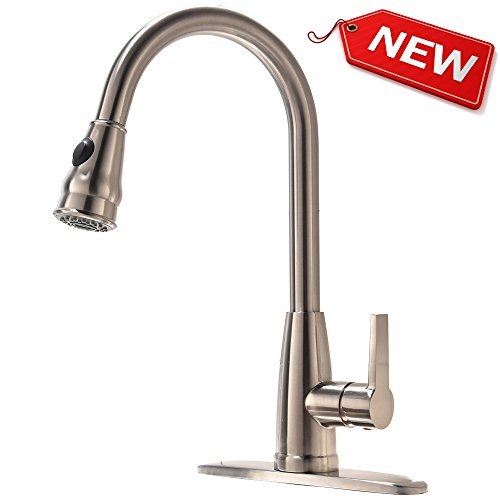 Hotis Modern 1 or 3 Hole Pull Down Swivel Single Handle Stainless Steel Prep Sprayer Pull Out Kitchen Sink Faucet,Brushed Nickel Kitchen Faucets