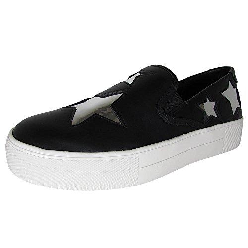 STEVEN by Steve Madden Womens Giggy Fashion Sneaker Black Multi g6ytos