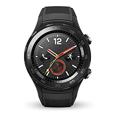 Huawei Watch 2 Smartwatch, 4G/LTE, 4 GB Rom, Wear OS by Google, Bluetooth, WiFi, Monitoraggio della Frequenza Cardiaca, Nero (Carbon Black)