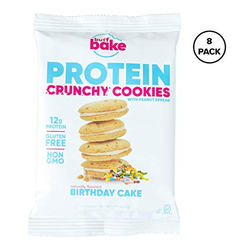 Buff Bake Protein Sandwich Cookie | Birthday Cake | Crunchy | Gluten Free | Non-GMO Ingredients | 12 Grams of Hormone-Free Whey Protein | (8 count, 1.79 Ounces)