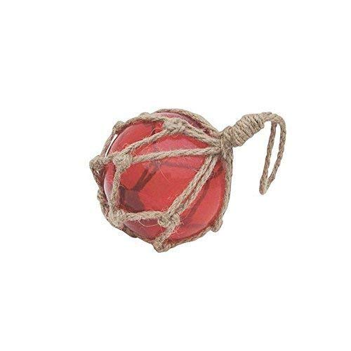 Filet de pêche Bille, Boule de fischer en verre en filet, Rouge ø 7,5 cm linoows