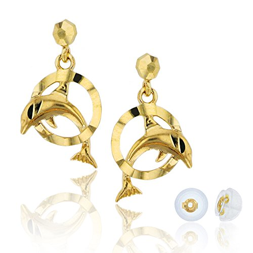 - 14K Yellow Gold Diamond Cut Dancing Dolphin Dangling Earring & Silicon Bubble Back