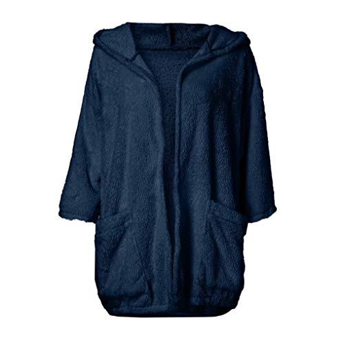 Thick Cardigan Stitch Long Outwear Navy Coat Women Batwing Open Sleeve Clearance Solid Faux TUDUZ Autumn Jacket Warm Fur Sleeve Overcoat Hooded 8wFc5fq