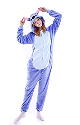 Grilong Halloween Stitch Onesie Costume for Adult Stitch Animals Pajamas