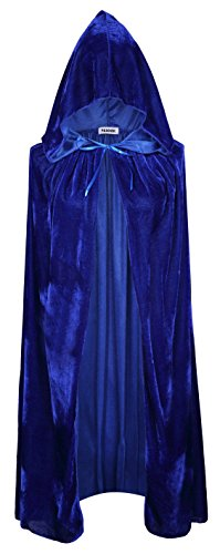 Blue Witch Costumes For Kids (VGLOOK Kids Hooded Cloak Cape For Halloween Cosplay Costumes ages 8 to14(Blue))