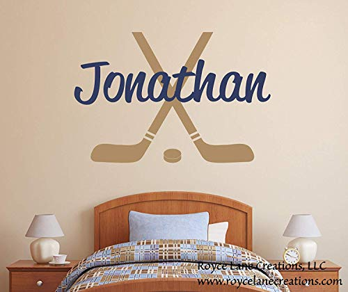 (Teisyouhu Quote Wall Decals Hockey Hockey Sticks and Hockey Puck with Personalized Name Hockey Stickers for Kids Rooms for Boys Home Wall Decoration for Living Room)
