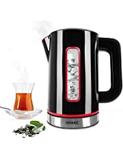 Duronic Electric Kettle EK30   Cordless 1.5L Fast Boil Kettle   Eco 3000W Variable Temperature Control   Keep Warm Function   Red / Black / Stainless-Steel   Energy Efficient   Insulated Cool Touch