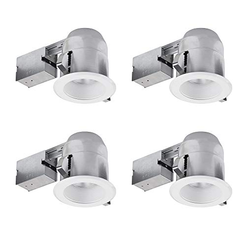 Globe Electric 91014 Recessed Lighting, 4 Pack, White Round Baffle