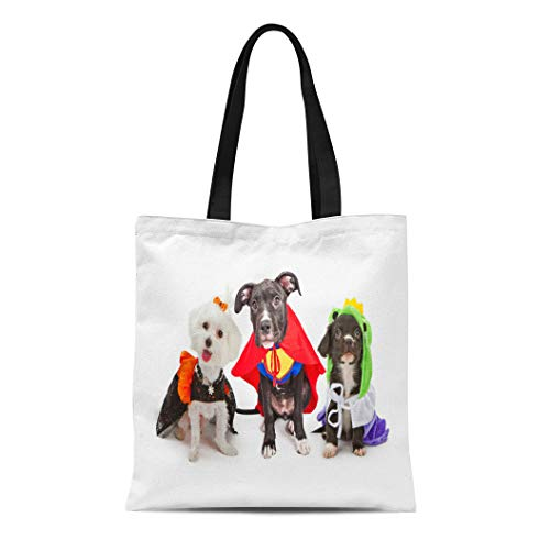 Semtomn Cotton Canvas Tote Bag Three Cute Little Puppy Dogs Dressed Up in Halloween Reusable Shoulder Grocery Shopping Bags Handbag Printed]()