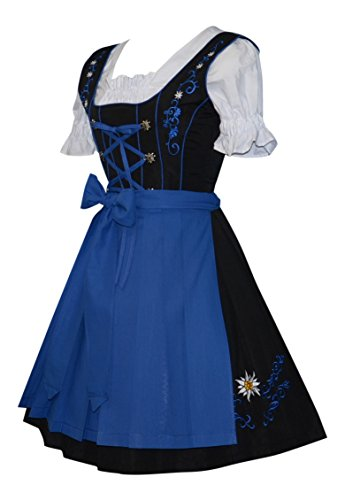 [3-piece German Party Oktoberfest Dirndl Dress Black & Blue (12)] (German Dress)