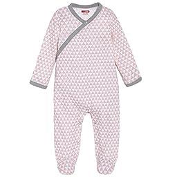 SkipHop Baby Girls\' Petite Triangles Side-Snap Long Sleeve Footie, Pink, Newborn