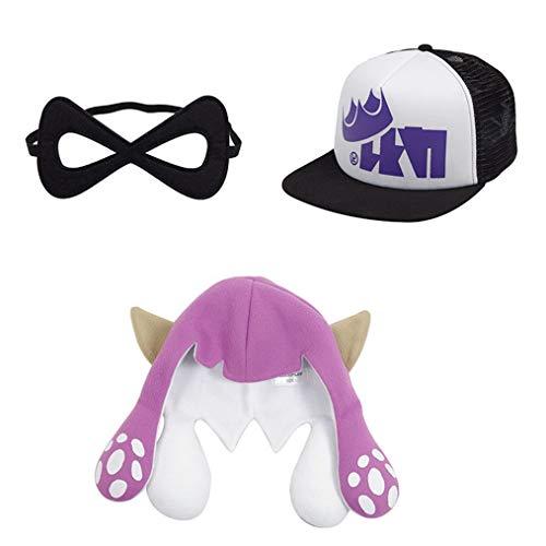 Unisex Inkling Girl Boy Squid Hats King Flip Mesh Trucker Caps Costume Headwear (Child, -