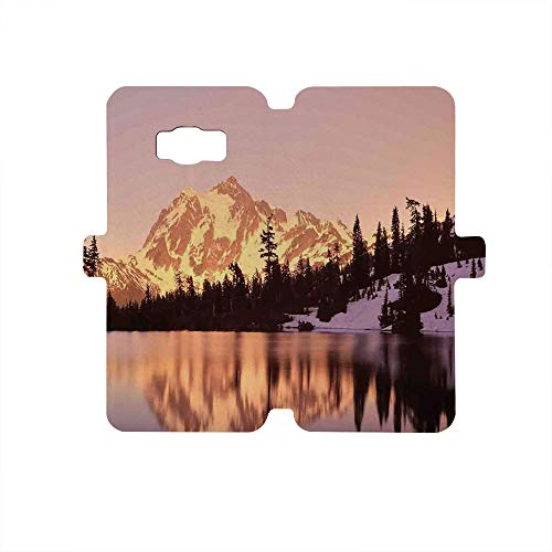 Painted Galaxy S8 Case, Premium PU Leather Wallet Flip Protective Case,Lake House Decor,Snow Capped Mt Shuksan and Lake at Sunset Evening View National Forest Washington,Yellow Purple