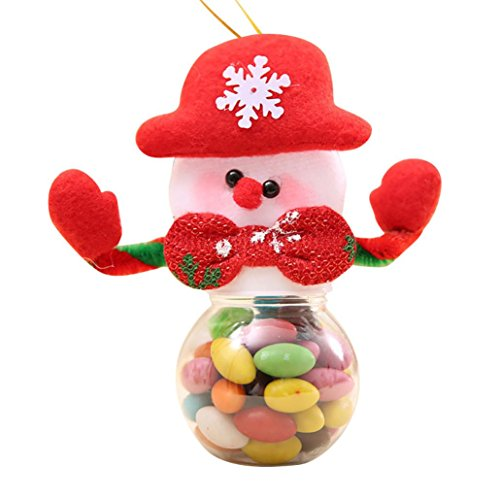 (Smdoxi Christmas Candy Jar Santa Claus Snowman Elk Candy Packaging Christmas Decoration (A))