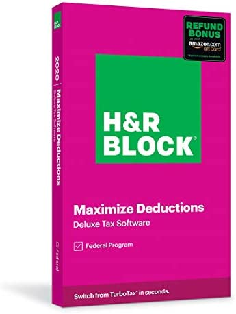 H&R Block Tax Software Deluxe 2020 with Refund Bonus Offer (Amazon Exclusive) (Key Card)