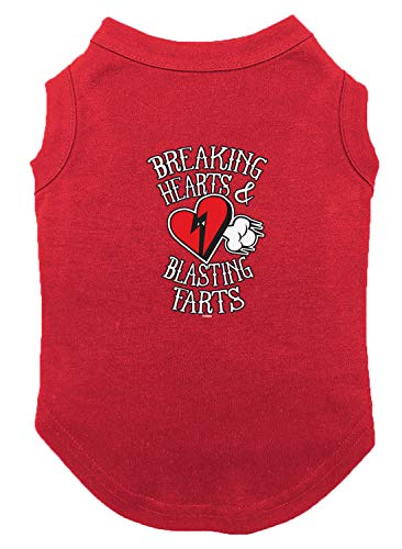- Tcombo Breaking Hearts & Blastings Farts Dog Shirt (Red, 3X-Large)