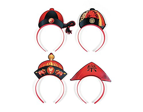 12 Chinese New Year Hat Headbands for Parties | Kids Birthday Party Hats]()