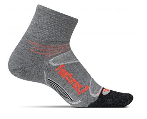 Feetures! Men's Elite Merino+ Cushion Quarter, Gray + Lava, Small