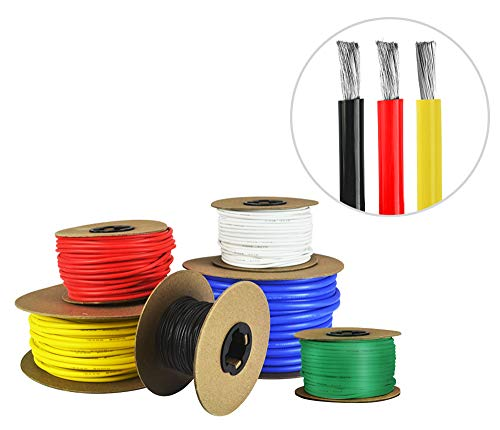 14 AWG Gauge Silicone Wire - Fine Strand Tinned Copper - 25 Feet Red, 25 Feet Black, 25 Yellow
