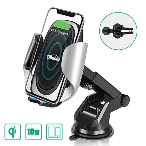 Oasser Wireless Car Charger 10W/7.5W Fast Charging Car Phone Holder Air Vent Dashboard Windshield with Adjustable Coil for Samsung Galaxy S10/S10+/S9/S9+/S8/Note 8/iPhone Xs Max/Xs/XR/X/8/8 Plus