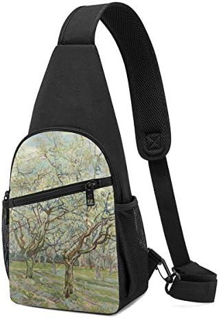 ボディ肩掛け 斜め掛け 桃の木々 ショルダーバッグ ワンショルダーバッグ メンズ 軽量 大容量 多機能レジャーバックパック