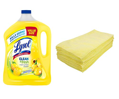 Zwipes Professional Microfiber Cleaning Cloth Towels, 12-Pack Bundle with Lysol Clean & Fresh Multi-Surface Cleaner, Lemon & Sunflower, 90-Ounce