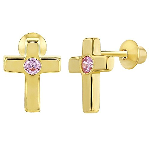 Yellow Gold Flashed 925 Sterling Silver Pink CZ Cross Screw Back -
