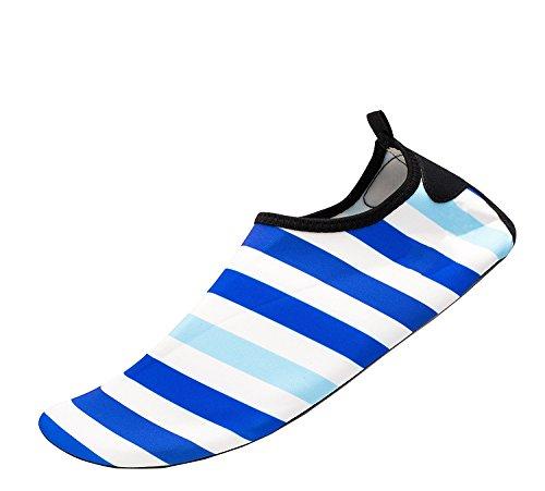 Himal Wasserschuhe Für Frauen Männer Wasser Socken Wasserdichte Aqua Socken Schwimmen Schuhe Für Beach Volleyball Sport Übung Schuhe Aktive Schuhe Erwachsene G1 Blau-Weiß-Streifen