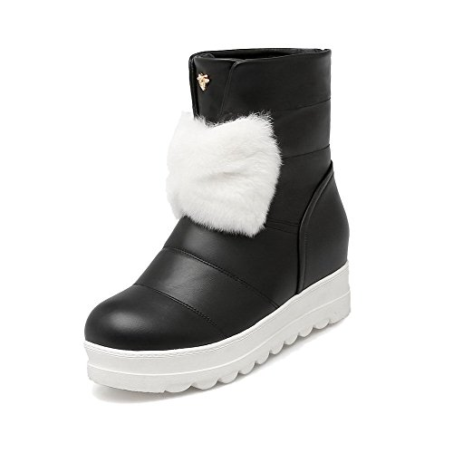 Solid Pull Toe Black Kitten Women's On Round Allhqfashion Heels Pu Closed Boots 56n8SwpxY